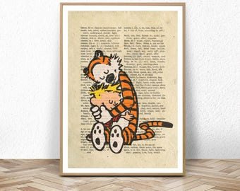 calvin and hobbes, calvin, hobbes, hobbes tiger, dictionary print, calvin hobbes art, poster, print, baby, nursery, large, gift, comic, wall