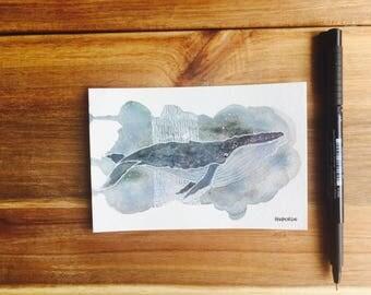 Blue: watercolor postcard