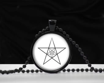Pentagram within a pentagram ... necklace  - Star Symbol Necklace - Occult Esoteric Jewlery - Glass Pendant jewelry