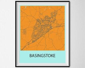 Basingstoke Map Poster Print - Orange and Blue
