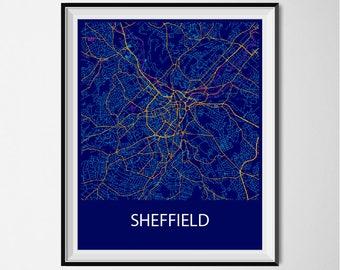 Sheffield Map Poster Print - Night