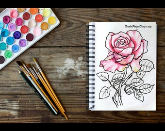 4 Roses Colouring pages COMBO, Adult colouring books, Instant Download