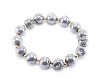 Silver Druzy Beaded Bracelet