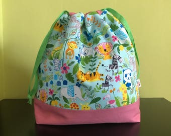 "Handmade drawstring bag / pouch for knitting crochet project 10.5"" x 8"" x 3.5"" *Animal kingdom*"