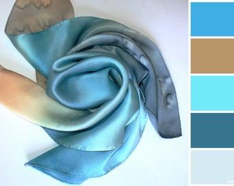 Handmade Neck Scarf,  Silk square scarf,  Hand painted silk scarves , batik, Silk-satin, Hand painted silk Shawl, Great gift