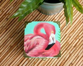 Unique handpainted, tropical Flamingo, wooden trinket box