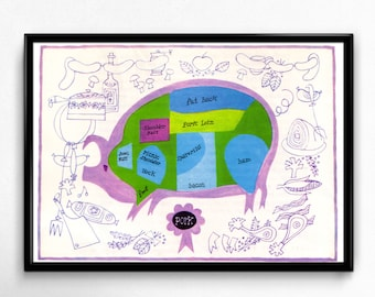 1950's Pork Illustration - Cuts of Meat Chart