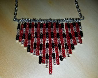 Red and black tribal necklace