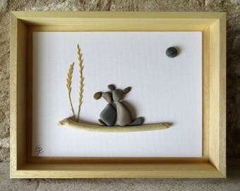 Pebble Art Dog - Unique Gift for Dog Lover - Gift for Kids - Custom Gift - Dogs leaning against each other - 18x24 cm.