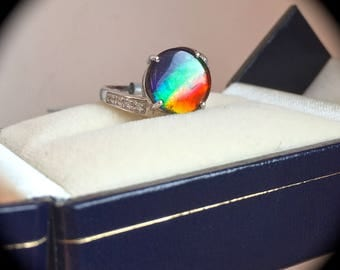 Large 10mm Round Ammolite Ring White Gold Size J 1/2 (US 5) - 'CERTIFIED' - Great Colours!