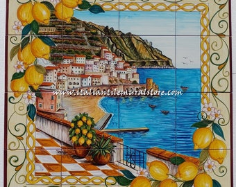 Backsplash Mural Tile View of Amalfi. Hand painted tiles for kitchen