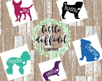Dog or Puppy Decal with Name