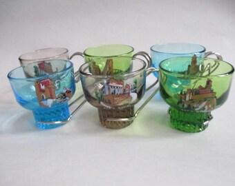 SPA LUBIANA Set Of 6 Kristall Espresso Coffee Glass Cups San Marino 60-70s - Italian sapphire blue, green and brown glass