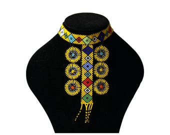 Beaded neckpiece, necklace, choker, South African