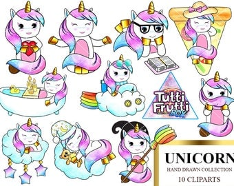 Rainbow hair unicorn set 2 Kawaii Unicorn clipart instant