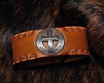 Handmade Leather Bracelet / Leather Cuff w/ Cross Concho