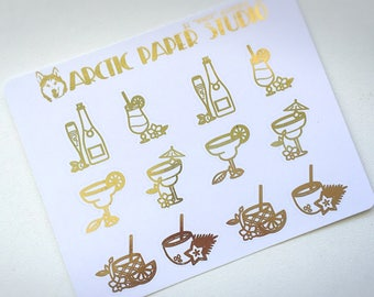 Alcoholic Drinks - FOILED Sampler Event Icons Planner Stickers