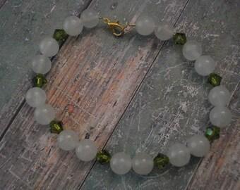 Snow Quartz and Olivine Bicone Swarovski Crystal Beaded Bracelet