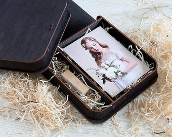 Wooden photo box for 4x6 prints | Engraved box for photos and usb packaging
