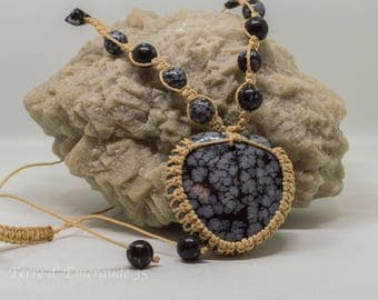 Speckled Obsidian Heart Necklace