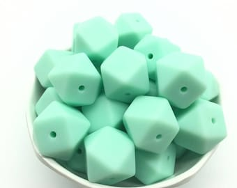 Mint------17mm Hexagon Silicone Teething Beads, 100% Food Grade Silicone Beads, BPA Free, Sensory Beads, Silicone Loose Beads