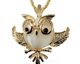 Owl Jewelry,Owl Necklace,Opal Owl Necklace Pendant,Crystal Owl Necklace Jewelry,Chubby Owl Necklace