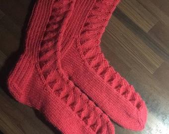 Hand knitted womens socks