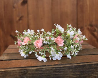 RTS- baby's breath- flower crown- floral crown- baby's breath crown- flower girl crown- pale pink- rosebuds- roses- hair accessory