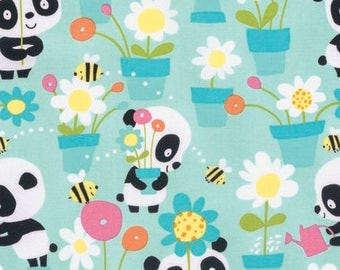 FREE GIFT with Purchase - FreeSpirit Garden Party- Pandas/Aqua/Cotton/Fabric/Sewing/Quilting