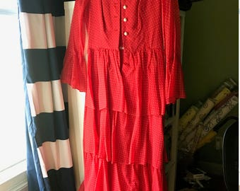 Vintage Red and White Polka Dot Long Ruffled Dress