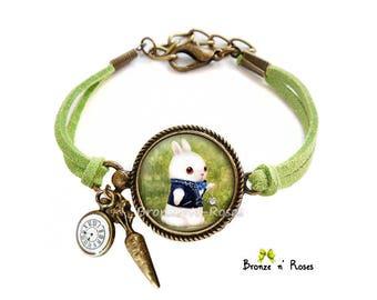 Bracelet Lapin blanc à la montre Alice au pays des merveilles cabochon bronze cadeau Noêl