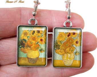 Vincent Van Gogh Painting earrings cabochon glass silver sunflowers