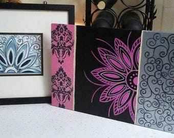 Mandala Art, Mandala Mugs and Mandalas on Canvas Sets, Hand Painted