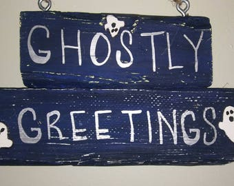 Ghostly Greetings sign