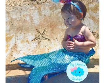 Little Mermaid Costume, Girls Mermaid Costume, Sparkle Mermaid Tail, Mermaid Costume for Toddlers and Girls