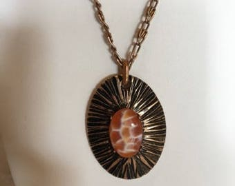Orange and white cabochon stone necklace, handmade rock jewelry, rock necklace