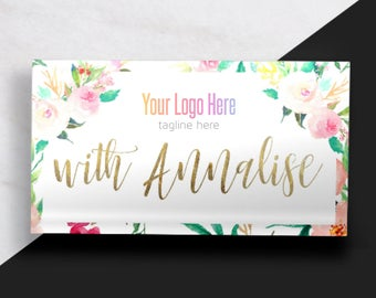 Boutique Business Card // Floral and Gold Business Card // Feminine Business Card // Fashion Consultant Business Card //