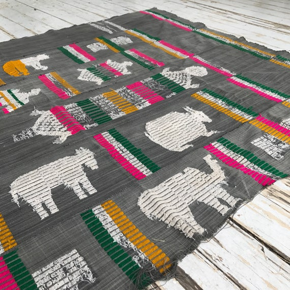 Vintage African Textile • Embroidered Animal Wall Hanging • Handwoven Cloth