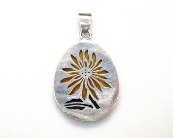 Sterling Silver Multicolor Flower Pendant