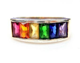 Sterling Silver Multicolor Cubic Zirconia Rainbow Engagement Ring