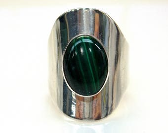 Sterling Silver Oval Malachite Sizable Ring