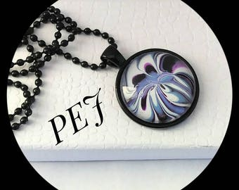 Purple/white/black, handpainted,pendant,necklace,giftsforher,watermarble,jewelry,glass