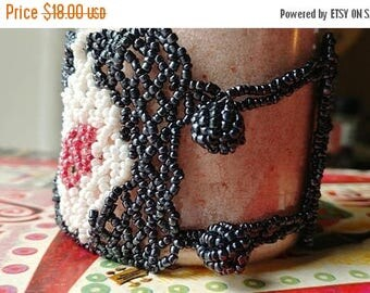 SALE 20% off Handmade Seed Bead Glass Bead Cuff Bracelet