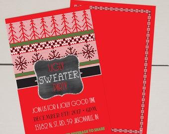 Ugly Sweater Christmas Party Invitation • Customizable • Digital • Printable • 5x7