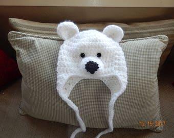 Cutest Crocheted Baby Polar Bear Hat With Earflaps