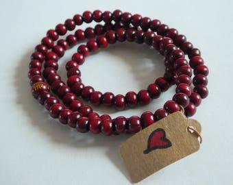 Mala ... prayer ... red sandalwood ... mala beads ...mala necklace... mala bracelet ... buddhist prayer .. simple .. yoga jewelry, 108 beads