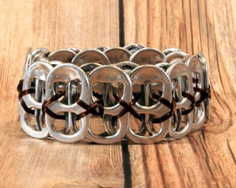 Upcycled Soda Can Tab Bracelet - Brown