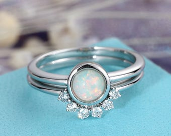 opal engagement ring white gold simple diamond curved wedding ring set women bridal jewelry birthstone promise