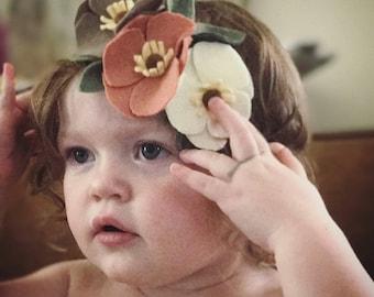 Sweet Peach Blossom felt flower crown headband