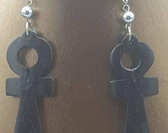 Black Wooden Ankh Earrings